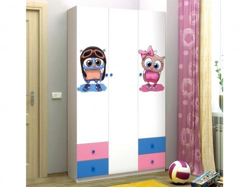Шкаф 3-х дверный с ящиками Совята 3-1