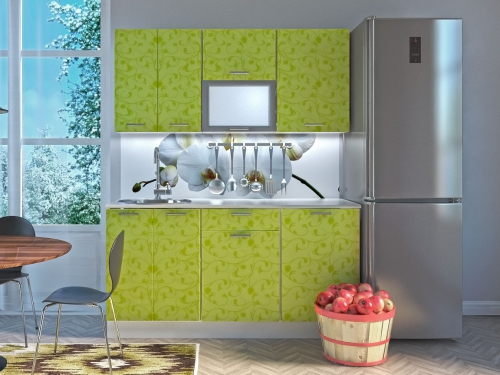 Модульная кухня Комфорт лайм цветы